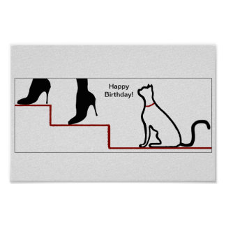 Happy Birthday Cat Poster