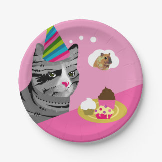 Happy Birthday Cat with Cupcakes Paper Plate