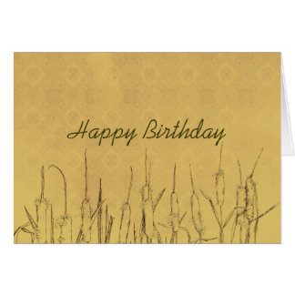 Happy Birthday Cattails Pen and Ink Art Drawing Card