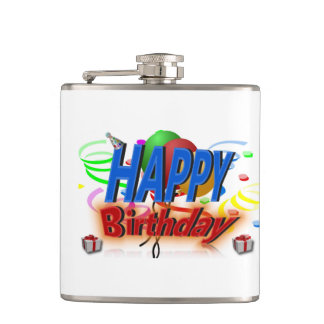 happy birthday celebration flask
