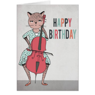 Happy Birthday - Cello Playing Cat Card