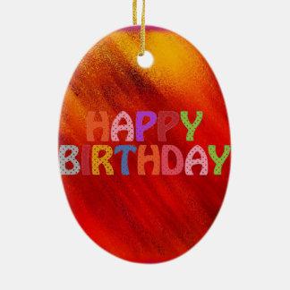 Happy Birthday Ceramic Oval Ornament