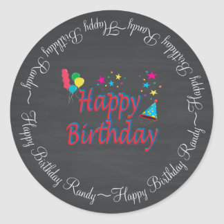 Happy Birthday Chalkboard Round Sticker