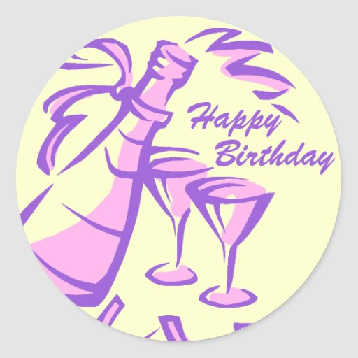 Happy Birthday Champagne Bottle and Glasses Stickers