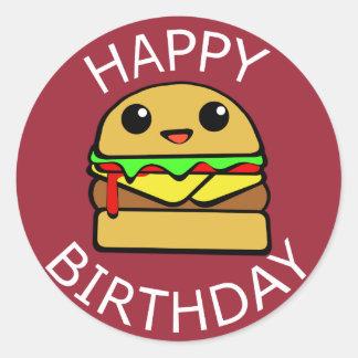 Happy Birthday Cheese Burger Round Sticker