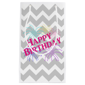 Happy Birthday Chevron Star Fireworks Gift Bag