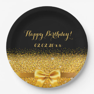 Happy Birthday Chic golden bow with sparkle black Paper Plate