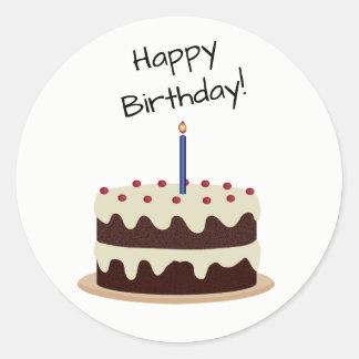 Happy Birthday Chocolate and Vanilla Cake Sticker