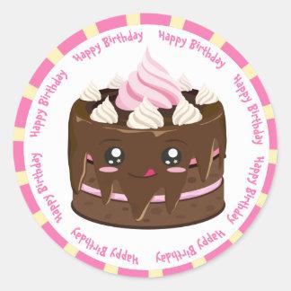 Happy birthday chocolate  kawaii cake classic round sticker