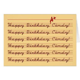 Happy Birthday, Cindy, Vintage Penmanship Card