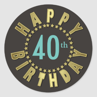 Happy Birthday Circle of Stars Gold GHBX Classic Round Sticker