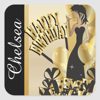 Happy Birthday Cocktail Girl | DIY Name | Gold Square Sticker
