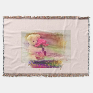 Happy Birthday Colorburst Bear Throw Blanket