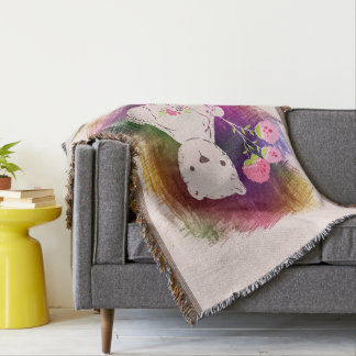 Happy Birthday Colorburst TeddyBear Throw Blanket