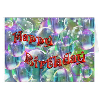 Happy Birthday Colorful Bubbles Card