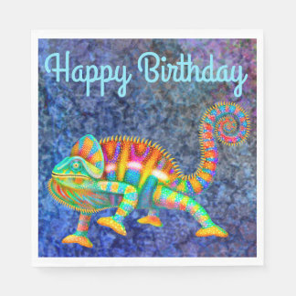Happy Birthday Colorful Chameleon Napkins Disposable Napkins