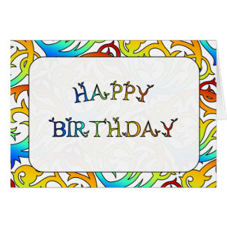 HAPPY BIRTHDAY COLORFUL ORNATE MODERN DESIGN CARD