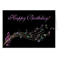 Happy birthday music cards photocards invitations more happy birthday colourful music notes card bookmarktalkfo Choice Image