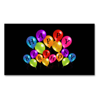 Happy Birthday Colourful Party Balloons Magnetic Business Card
