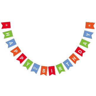 Happy Birthday Colourful Personalized Bunting Flags