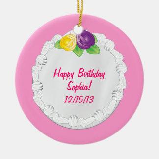 Happy Birthday Commemorative Cake Pink Ceramic Ornament