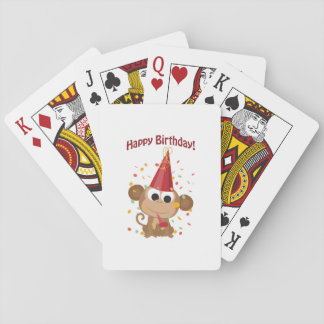 Happy birthday Confetti Monkey Playing Cards