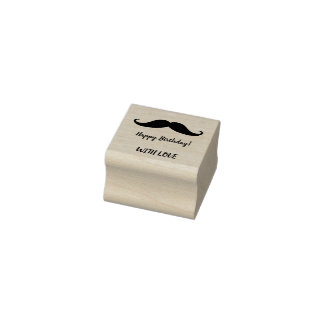 Happy Birthday cool mustache stamp