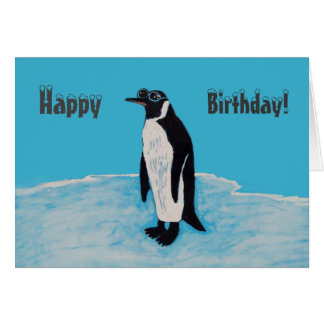 Happy Birthday Cool Penguin with Sunglasses on Ice Card