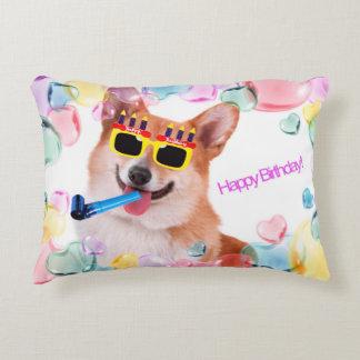 Happy Birthday Corgi Decorative Pillow