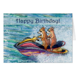 Happy Birthday, corgi dog driving his hoomun Card