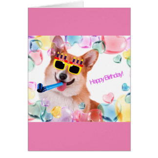Happy Birthday Corgi with Glasses for Her Card