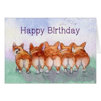 Happy Birthday, corgis, five walk away together Card
