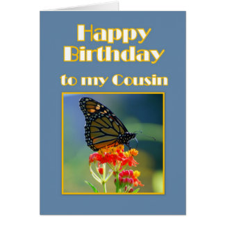 Happy Birthday Cousin Monarch Butterfly Card