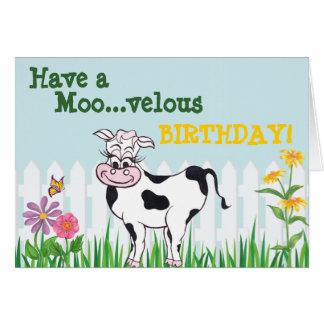 Happy Birthday - Cow & FlowersCustomizable Card