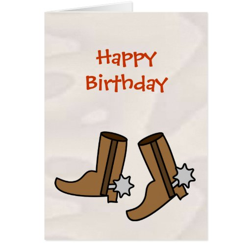 Happy Birthday Cowboy Boots for Country Western Card