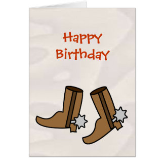 Happy Birthday Cowboy Boots for Country Western Greeting Card