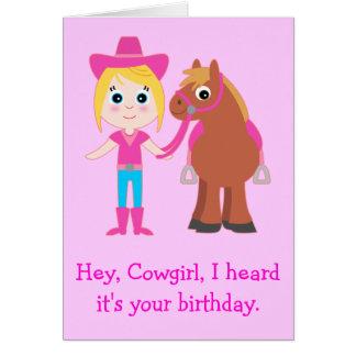 Happy Birthday Cowgirl for Niece Card