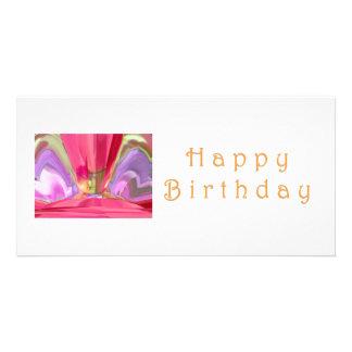 Happy Birthday Crysal: RedRose PinkRose Petal Art Photo Card