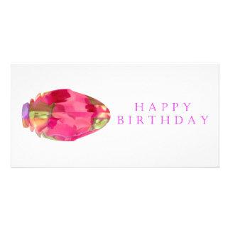 Happy Birthday Crystal RedRose PinkRose Petal Photo Card Template