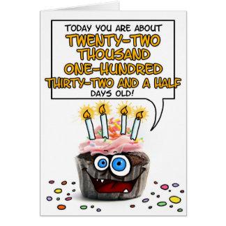 Happy Birthday Cupcake - 60 years old Greeting Card