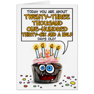 Happy Birthday Cupcake - 63 years old Card