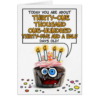 Happy Birthday Cupcake - 85 years old Card