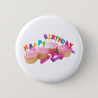 Happy Birthday Cupcake and Candles 2 Inch Round Button