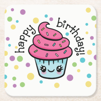 Happy Birthday Cupcake coasters