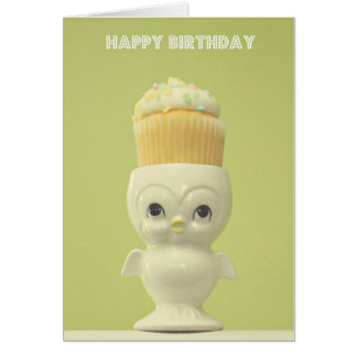 Happy Birthday Cupcake Owl Card