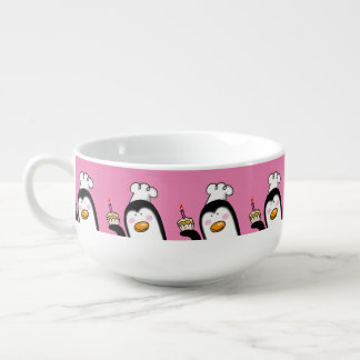 happy birthday cupcake penguin soup bowl with handle