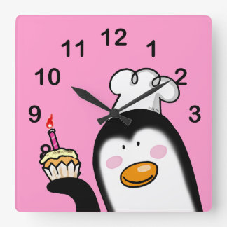 Happy birthday cupcake square wall clock