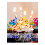 Happy Birthday Cupcake with Candles Post Card
