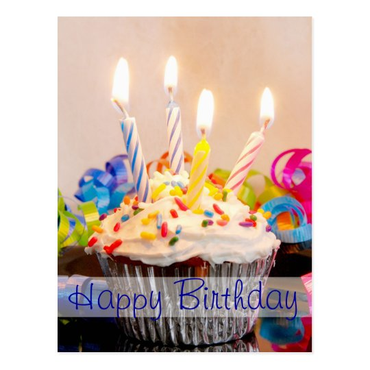 Happy Birthday Cupcake with Candles Postcard