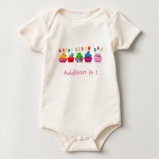 Happy Birthday Cupcakes - Baby One Piece Baby Bodysuit